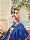 picture of Festive Wear Designer Blue Color Chiffon Embroidered Saree With Lace Border