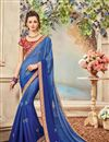 image of Festive Wear Designer Blue Color Chiffon Embroidered Saree With Lace Border