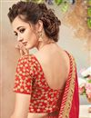 photo of Fancy Function Wear Designer Orange And Red Color Silk Embellished Saree With Lace Border