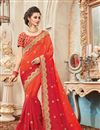 image of Fancy Function Wear Designer Orange And Red Color Silk Embellished Saree With Lace Border