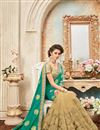 photo of Designer Party Wear Green And Beige Color Silk Embroidered Saree With Lace Border