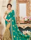 image of Designer Party Wear Green And Beige Color Silk Embroidered Saree With Lace Border