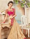 picture of Party Wear Fancy Beige Color Silk Embellished Saree With Lace Border