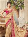 image of Party Wear Fancy Beige Color Silk Embellished Saree With Lace Border