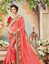 image of Designer Festive Wear Silk Pink Color Embroidered Fancy Lace Border Saree