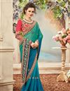 photo of Fancy Festive Wear Green And Blue Color Silk And Chiffon Designer Embroidered Saree