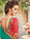 picture of Fancy Festive Wear Green And Blue Color Silk And Chiffon Designer Embroidered Saree