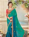 image of Fancy Festive Wear Green And Blue Color Silk And Chiffon Designer Embroidered Saree
