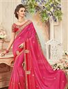 image of Fancy Festive Wear Pink Color Silk Designer Embroidered Saree