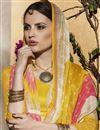photo of Striking Mustard-Peach Color Silk Party Wear Saree