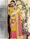 image of Striking Mustard-Peach Color Silk Party Wear Saree