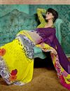 photo of Delightful Yellow And Purple Color Printed Saree