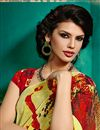 photo of Red And Yellow Color Printed Georgette Saree