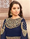 photo of Georgette Navy Blue Embroidered Fancy Anarkali Dress