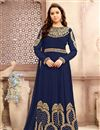 image of Party Wear Anarkali Dress in Navy Blue Georgette