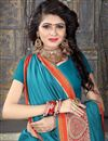 photo of Weaving Designs On Sky Blue Art Silk Festive Wear Saree