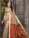 image of Designer Art Silk Saree In Dark Beige With Weaving Designs