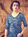 photo of Soothing Cotton Fabric Party Wear Kurti In Blue Color