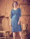 image of Soothing Cotton Fabric Party Wear Kurti In Blue Color