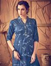 photo of Alluring Blue Color Eye-Catchy Kurti In Cotton Fabric