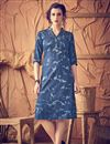image of Alluring Blue Color Eye-Catchy Kurti In Cotton Fabric