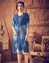 image of Comforting Cotton Fabric Blue Color Designer Kurti