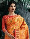 photo of Designer Party Style Orange Saree In Art Silk With Weaving Work