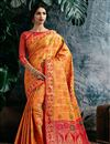 image of Designer Party Style Orange Saree In Art Silk With Weaving Work
