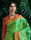 photo of Art Silk Fancy Green Designer Party Style Weaving Work Saree