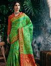 image of Art Silk Fancy Green Designer Party Style Weaving Work Saree