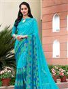image of Fancy Print Casual Wear Sky Blue Color Georgette Saree