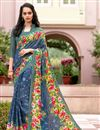 image of Daily Wear Blue Color Crepe Fancy Print Saree
