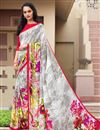 image of Grey Color Printed Casual Saree In Crepe Fabric