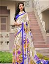 image of Daily Wear Fancy Print Beige Color Crepe Saree