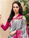 photo of Grey And Pink Color Daily Wear Printed Saree In Crepe Fabric