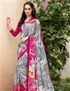 image of Grey And Pink Color Daily Wear Printed Saree In Crepe Fabric