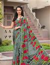 image of Crepe Regular Wear Grey Color Saree With Unstitched Blouse