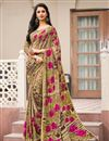 image of Daily Wear Cream Color Crepe Fancy Print Saree