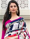 photo of Beige And Black Color Printed Casual Saree In Crepe Fabric