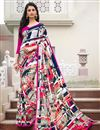 image of Beige And Black Color Printed Casual Saree In Crepe Fabric