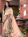 image of Daily Wear Fancy Print Peach Color Crepe Saree