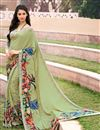 image of Green Color Daily Wear Printed Saree In Crepe Fabric