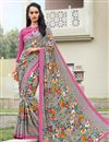 image of Daily Wear Grey Color Crepe Fancy Print Saree