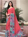 image of Pink Color Printed Casual Saree In Crepe Fabric