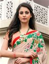 photo of Peach Color Daily Wear Printed Saree In Crepe Fabric
