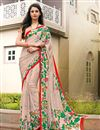 image of Peach Color Daily Wear Printed Saree In Crepe Fabric