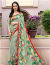 image of Fancy Print Casual Wear Green Color Crepe Saree