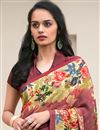 photo of Daily Wear Wine Color Crepe Fancy Print Saree