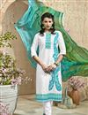 image of Off White Cotton-Jacquard Party Wear Dress Materia