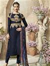 image of Navy Blue Cotton-Jacquard Party Salwar Kameez